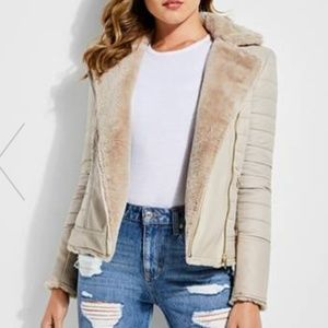 Guess Allegra Jacket Nude Moto Faux Fur Leather